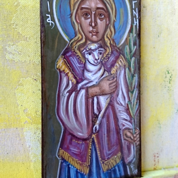 Saint Agnes of Rome Contemporary Saint Ines and the lamb egg tempera on wood sacred spiritual art by angelicon