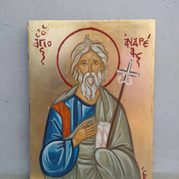 Apostle and Saint  Andrew - Agios Andreas the first called- Byzantine religious icon antique patina handpainted