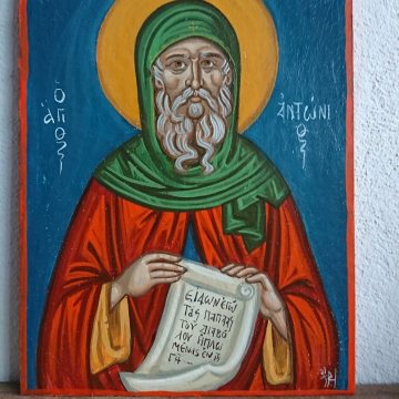 Clone of Abba St Anthony the Great- Desert Fathers and Saints byzantine icon in craquelure style contemporary religious art and icons