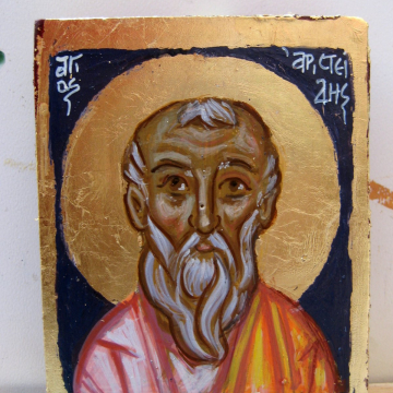 Saint Aristeidis the Athenian- Greek saints series -Carry on icon, keepsake miniature painting eggtempera on wood name day gift