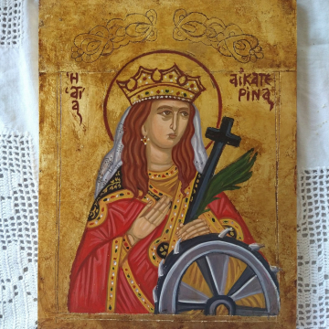 Saint Catherine of Alexandria Traditional byzantine Agia  Aikaterina  painted with eggtempera in a handcarved panel Folk Art of Greece