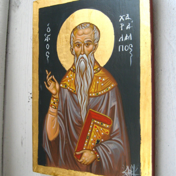 St Charalambos Contemporary religious art of Greece - Hand painted Byzantine icon of the Greek Saint Haralambus