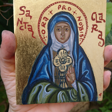 Icon of St Clare of Assisi byzantin art Saint Claire santa Clara  religious catholic painting confirmation baptism gift angelicon