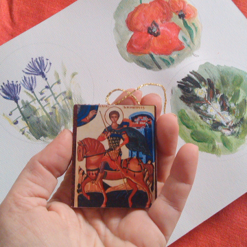 Orthodox Baptism  Bombonniere- Saint Demetrius of Thessalonica mini icon favours Greek christening mini gifts for guests