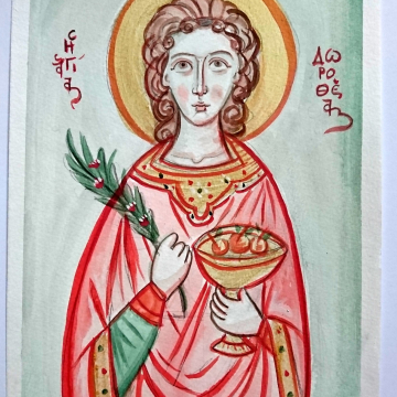 Colored Drawing of Saint Dorothea  of Caesarea St. Dorothy  unframed canson painting, christian childrens room art