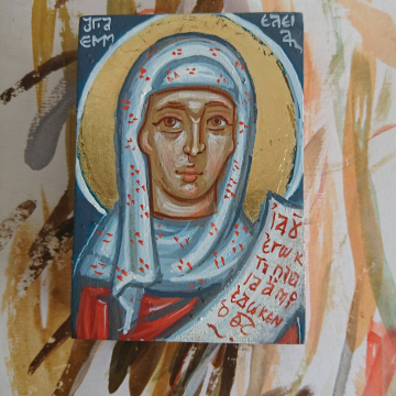 Travel icon of St Emmelia of Caesarea, Made to order Portable icon of the Holy and righteous St Emily or Emilia mother of five Saints