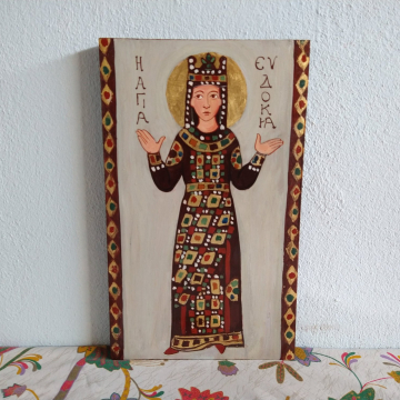St Eudocia a, Byzantine Empress, Greco roman ancient art inspired painting of the Orthodox saint