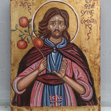 Byzantine Icon St Euphrosynos and the apples from heaven- painting of Saint Efrosynos patron of  cooks antique style  folk art and traditional iconography of Greece