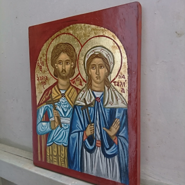 Byzantine icon of Sts Natalia and Adrian of Nicomedia orthodox couple saints christian art and iconography
