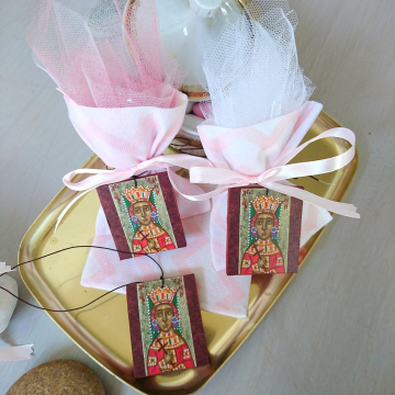 Saint Helen gift wrapped baptismal icon favours-baby girl bomboniere of St Helena -christening favour first communion art print on wood