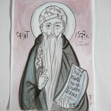 St Isaac the Syrian original drawing with India Ink of the Church father Christian art and Illustration Chinese ink painting