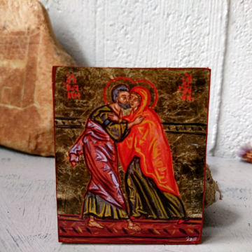 The Embrace of St Joachim and Anne- Mini icon reproduction wedding favors anniversary gifts marital love and union symbolism