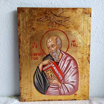 Byzantine icon of Saint John the Theologian, Folk Religious Art of Greece the Evangelist Ioannes of Patmos on a hand carved and painted wooden board