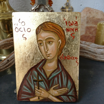 St John the Russian Byzantine icon of the orthodox saint hand painted with eggtempera religious art by angelicon
