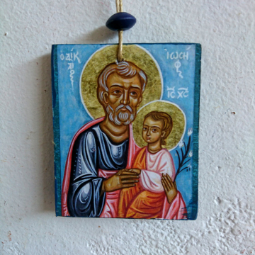 Saint Joseph the Righteous and Christ Child 10 pieces of Icon Charm  favors- Hanging Icons Christian mini gifts for fathers day