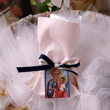Satin Bonbonniere with baptism favors - Religious Icons gifts for Joseph or Josephine baby boy or girl christening art