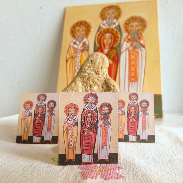Custom order for 150 pieces of St Makrina and her brothers Mini baptism favor icons free shipping coptic baptismal souvenir  traditional christening gift
