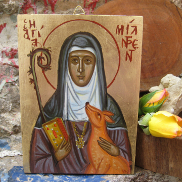 Made to Order St Mildred with a deer, Anglo- Byzantine Icons Female Saints of England sacred art and iconography