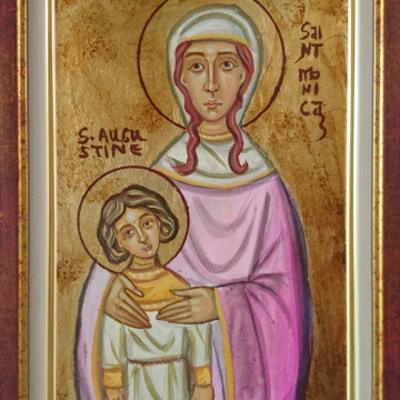 St Monica and Saint Augustine of Hippo Religious Icon  with handcrafted frame - Christian art and tradition The tears of Santa Monica