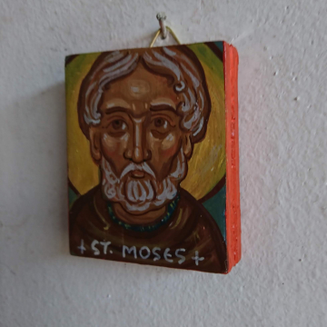 Mini St Moses the Ethiopian- Icon of Abba Moses the Robber or the Black orthodox coptic saint carry on icons