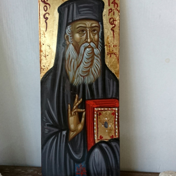 St Nectarios Custom order byzantine icon hand painted egg tempera in plywood board- contemporary iconography of Greece