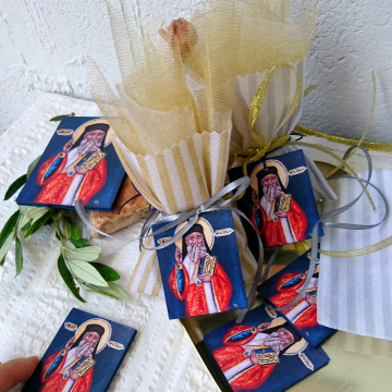 St Nectarios icon favors- Bombonniere or boubouniera of the orthodox Saint Nektarios the wonderworker baptism gift for baby girl or boy tulle koufeta and icon favors