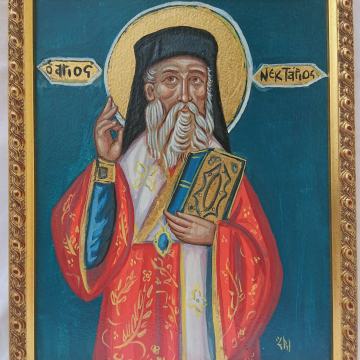 Saint Nectarios of Aegina Icon- Framed  painting of St Nektarios the Miracle- Worker- Traditional  religious art an icons painting of Greece
