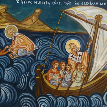 Greek folk art hand-painted icon of St Nicholas rescuing sailors- The Miracle  Agios Nikolaos icons and tradition of Greece