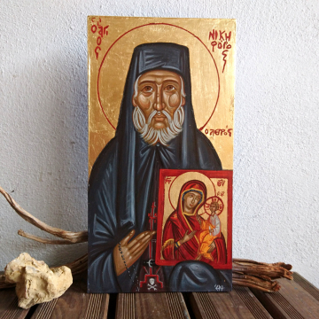 St Nicephorus the Leper, Father Nikiforos original hand painted byzantine icon of the orthodox saint-