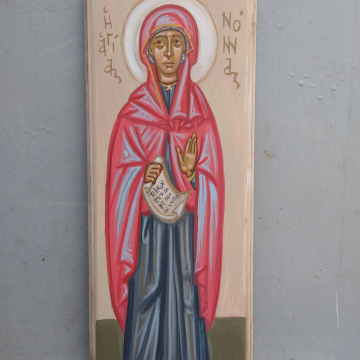 Saint Nonna of Nazianzus- Contemporary byzantine icon of Mother of St Gregory the Theologian eggtempera on carved Birchwood