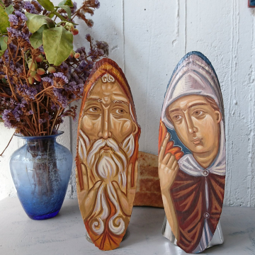 St Pachomius and the Angel on Two pieces on Birchwood-Venerable Pachomios the Great Desert father - Contemporary sacred art holy iconography and Theology