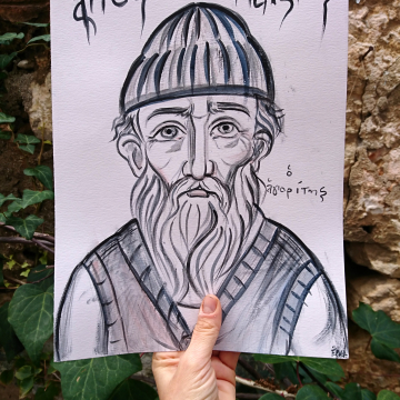"""Colored drawing of St Paisios the athonite-9""""x12"""" original sketch of the orthodox Elder- hand drawn egg tempera on acid free paper by angelicon"""
