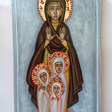 Icon of Sofia Pistis Elpis Agape- St Sophia and her daughters original  icon Contemporary byzantine hand painted eggtempera  art