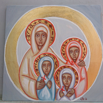 Custom Icon of Sts Sofia Pistis Elpis Agape- Made to Order  Contemporary St Sophia and her daughters original  Contemporary byzantine art
