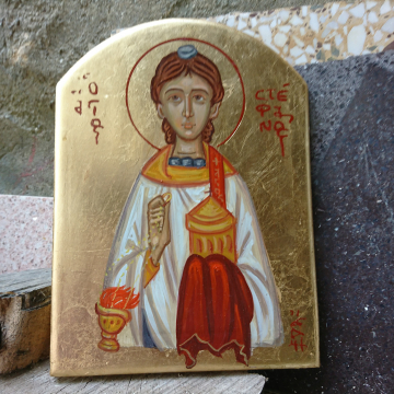 St Stephen byzantine icon of Stefanus the First Martyr-  contemporary religious art
