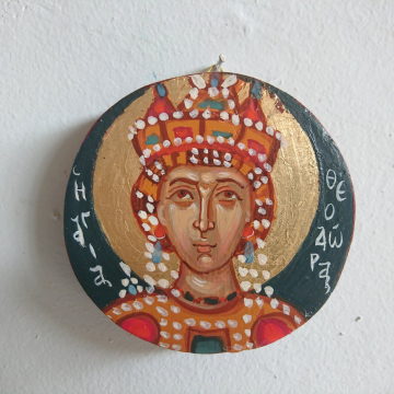 Round mini St Theodora byzantine icon- Contemporary religious painting of the empress and Augusta painted by hand
