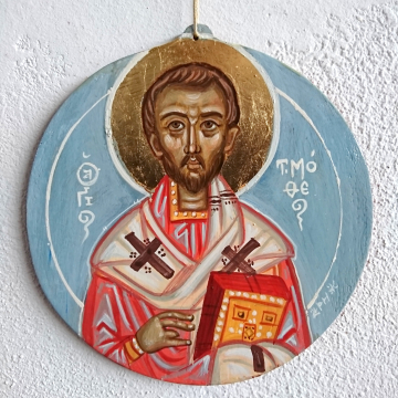 St Timothy round hanging icon contemporary byzantine art and iconography eggtempera on wood by angelicon