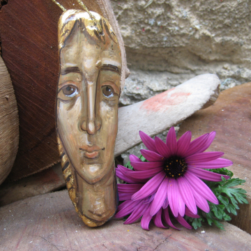 Saint Ursula of Cologne  hand painted natural sculpture- ooak eggtempera paintings in driftwood holy art and iconograohy of Crete Greece