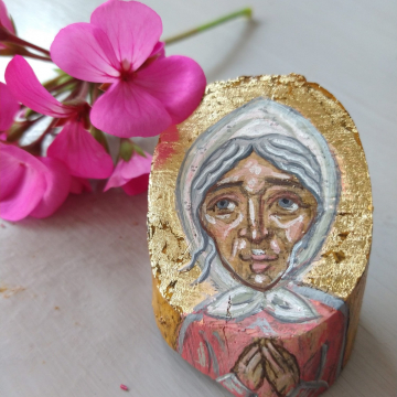 Saint Xenia of Petersburg in an uneven olive good,mini OOAK artifact Russian Female Saint Fools For Christ