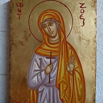 "Saint Zoe Made to order byzantine icon eggtempera on 7.5x9.8""  plywood- Name day baptism gift"