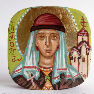 St Olga of Kiev- mini icon of - Contemporary religious painting of  the Russian Saint  princess and martyr painted by hand