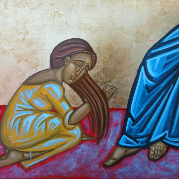 The Fallen woman byzantine icon- kiss the feet of Christ original contemporary religious art and iconography
