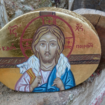 Icon of The Good Shepherd - Jesus Christ Painting Parable of the lost sheep OOAK egg tempera painted in eucalyptus wood Christian art and symbolism of the Old and New Testament
