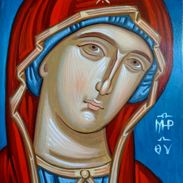 Contemporary Theotokos byzantine icon on a blue background- A4 size detail of Panagia Odegetria iconography of the Holy Mother