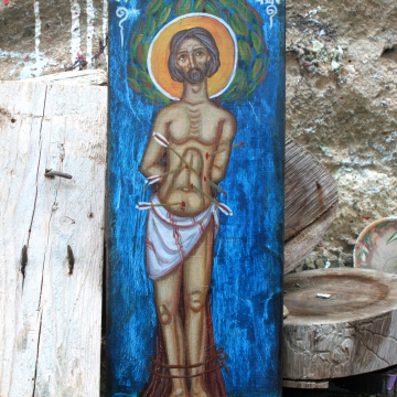 St Sebastian religious icon eggtempera painting with craquelure effect by eri angelicon