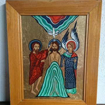 Framed icon of Theophany Medieval Epiphany in Fggtempera religious art