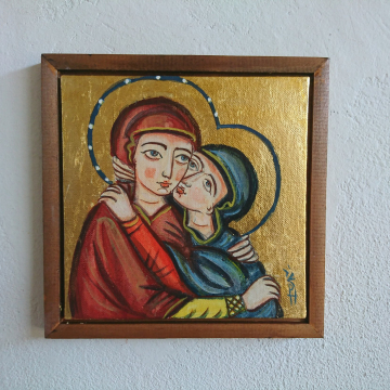 Visitation icon St Elisabeth Embracing the Blessed Virgin Mary framed canvas art medieval western european