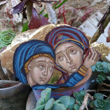 Visitation in repurposed olive wood- Holy Mother and St Elisabeth  Visit of Pregnant Virgin Mary Christian art natural sculpture