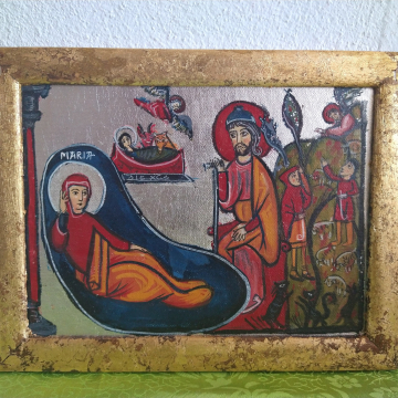Romanesque Nativity of Christ in silver - Xmas canvas Holy Family painting religious gifts for Christmas, spiritual art made in Greece